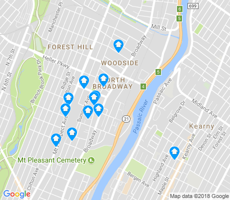 map of North Broadway apartments for rent