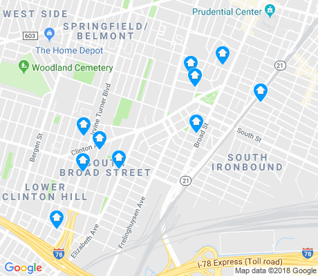 map of South Broad Street apartments for rent