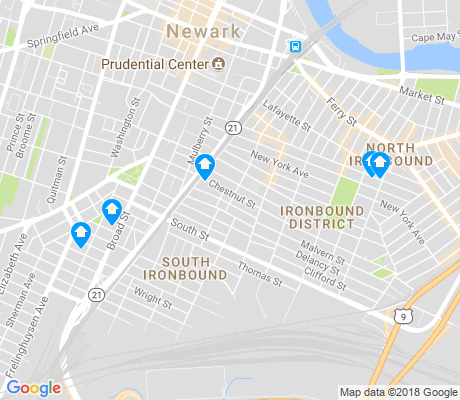 map of South Ironbound apartments for rent