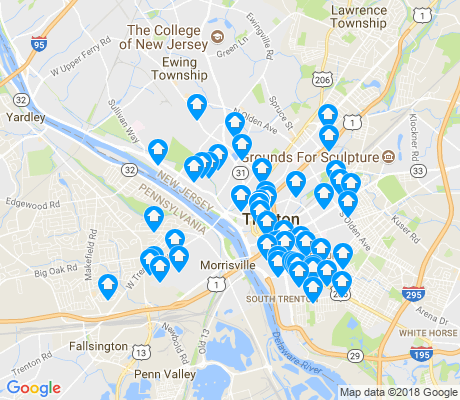 map of Trenton apartments for rent