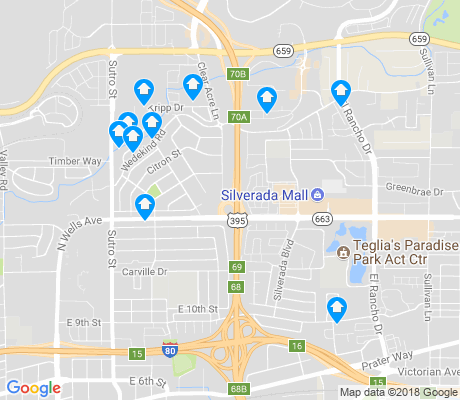 map of Northeast Reno apartments for rent