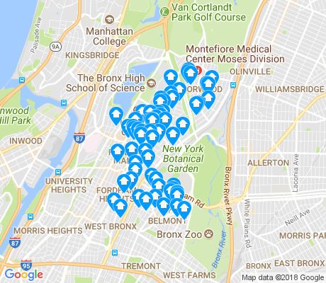 map of 10458 apartments for rent