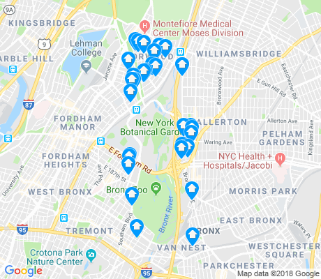 map of Bronx Park apartments for rent