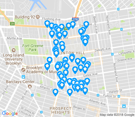map of Clinton Hill apartments for rent