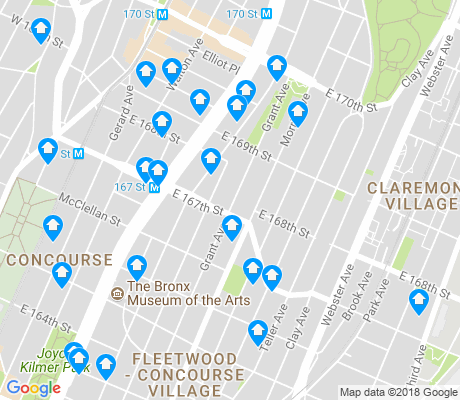 map of Concourse apartments for rent