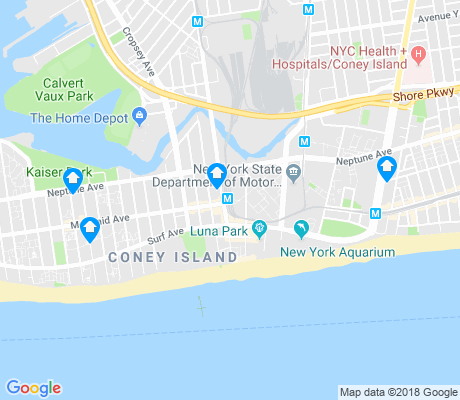 map of Coney Island apartments for rent