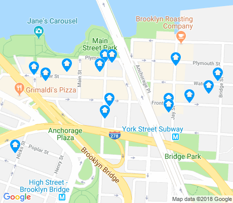map of DUMBO apartments for rent