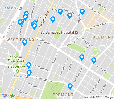 map of East Tremont apartments for rent