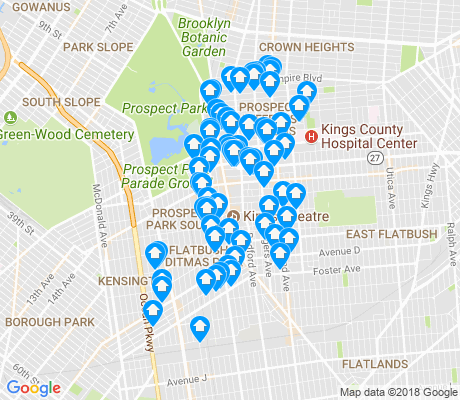 map of Flatbush apartments for rent