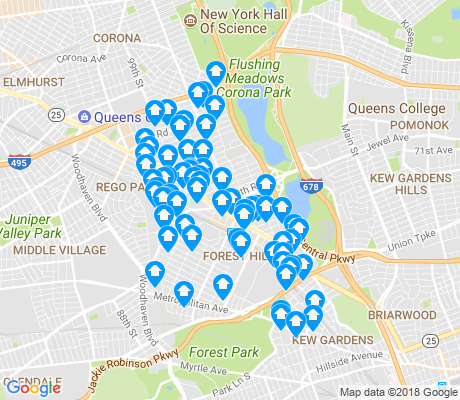 map of Forest Hills apartments for rent