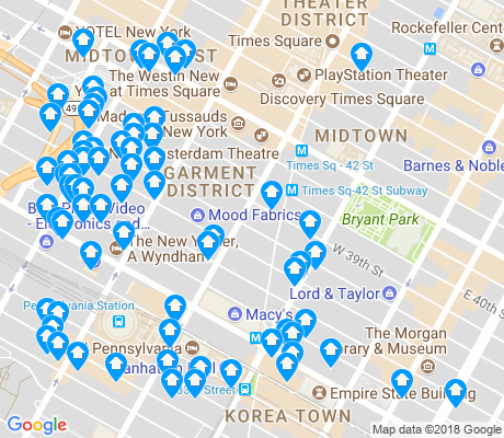 map of Garment District apartments for rent