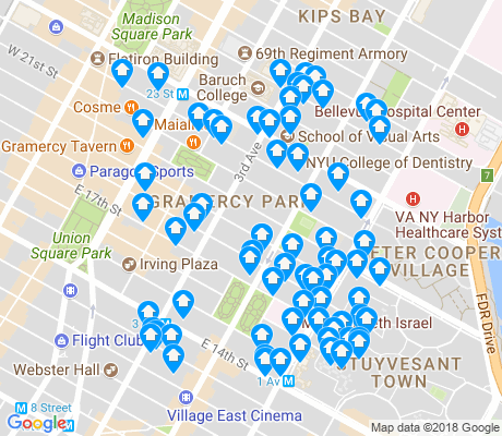 map of Gramercy Park apartments for rent