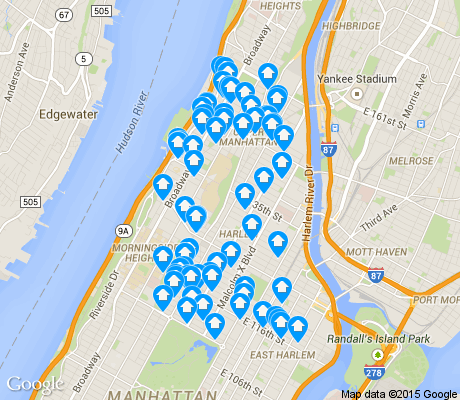 map of Harlem apartments for rent
