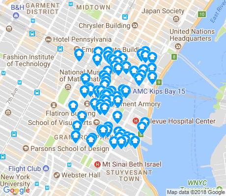 map of Kips Bay apartments for rent