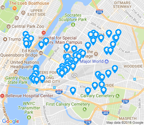 map of Long Island City apartments for rent