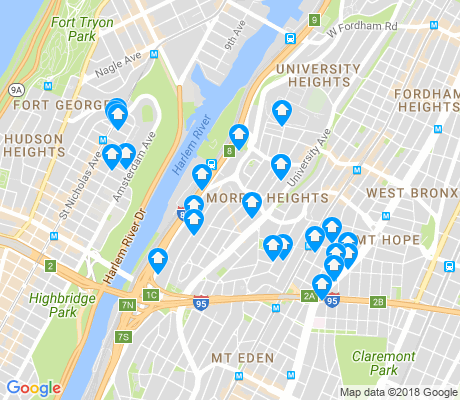 map of Morris Heights apartments for rent