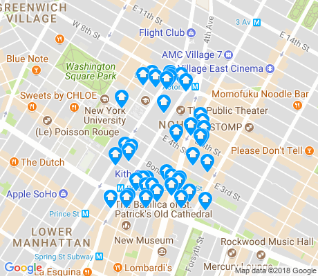 map of NoHo apartments for rent