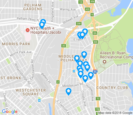 map of Pelham Bay apartments for rent