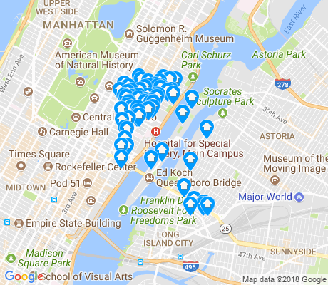 map of Roosevelt Island apartments for rent