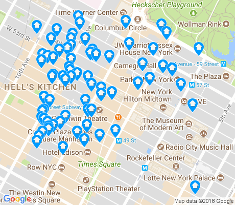 map of Theater District apartments for rent