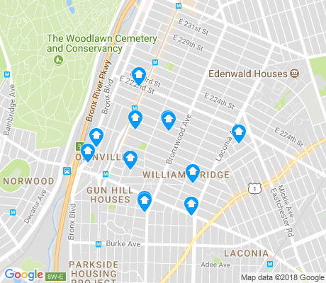 map of Williamsbridge apartments for rent