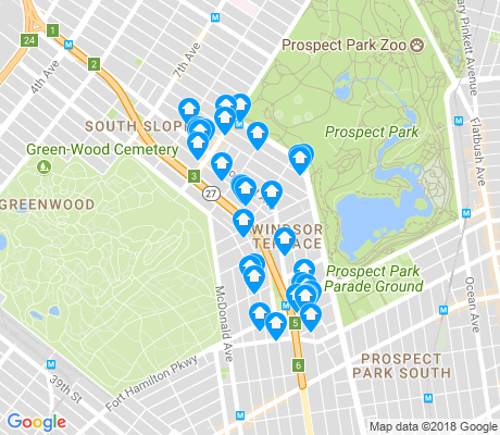 map of Windsor Terrace apartments for rent