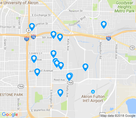 map of East Akron apartments for rent