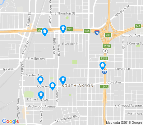map of South Akron apartments for rent