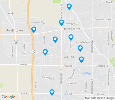map of Austintown apartments for rent