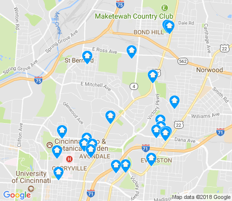 map of 45229 apartments for rent