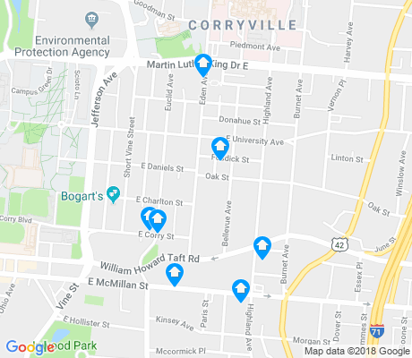 map of Corryville apartments for rent