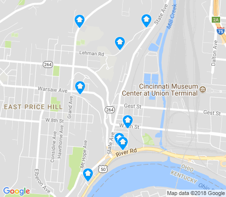map of Lower Price Hill apartments for rent