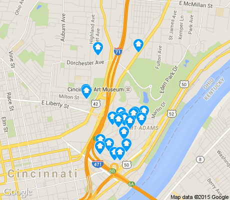 map of Mt. Adams apartments for rent