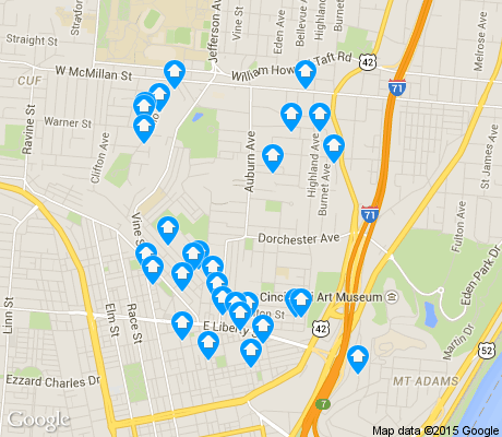 map of Mt. Auburn apartments for rent