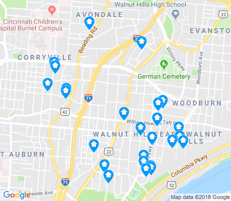 map of Walnut Hills apartments for rent