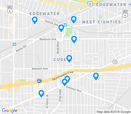 map of Cudell apartments for rent