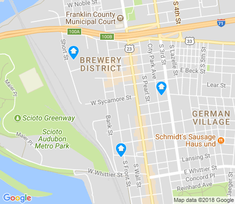 map of Brewery District apartments for rent