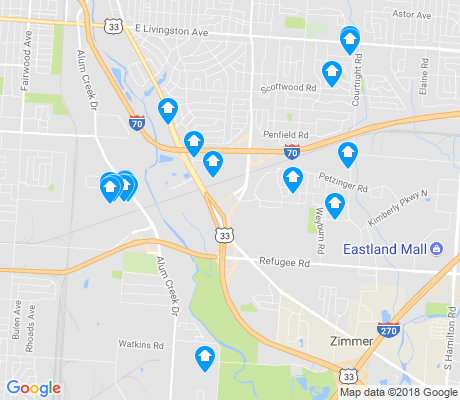 map of Southeast Columbus apartments for rent