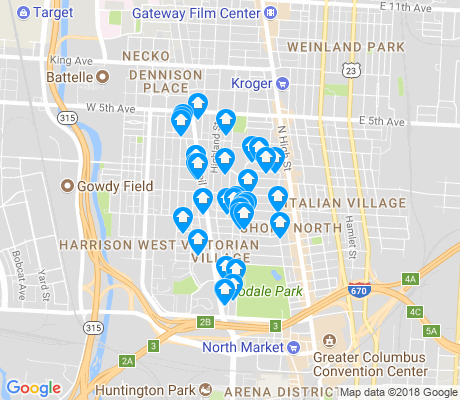 map of Victorian Village apartments for rent