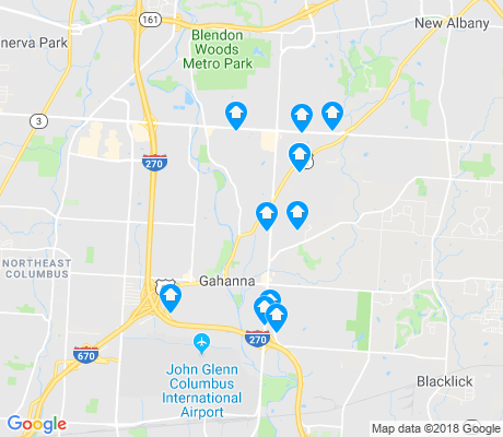 map of Gahanna apartments for rent