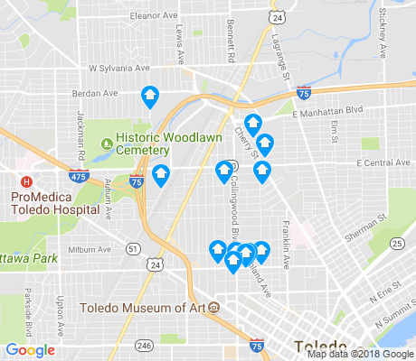 map of Old West End apartments for rent