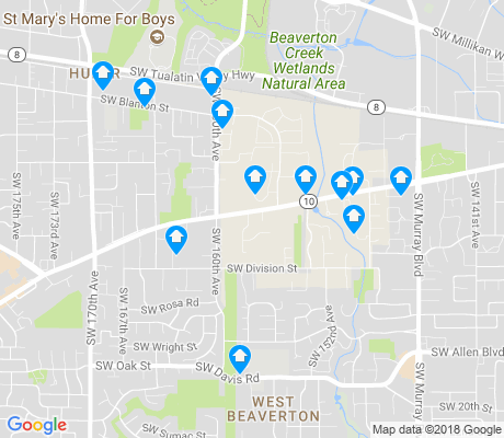 map of West Beaverton apartments for rent
