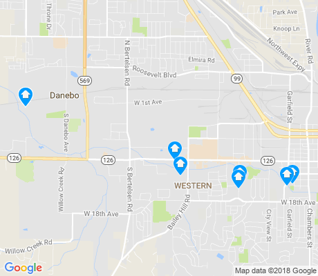 map of West Eugene apartments for rent