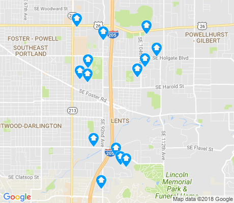 map of Lents apartments for rent