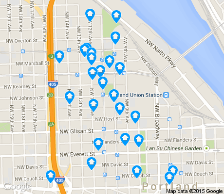 map of Pearl District apartments for rent