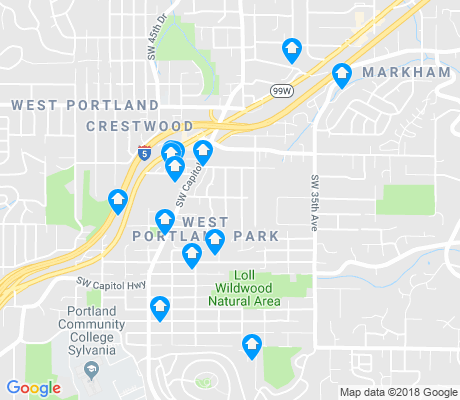 map of West Portland Park apartments for rent