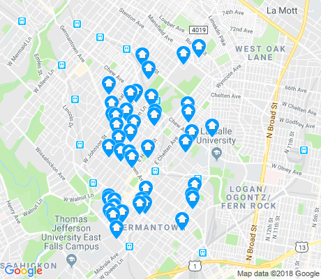 map of East Germantown apartments for rent