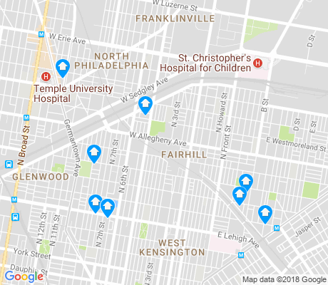 map of Fairhill apartments for rent