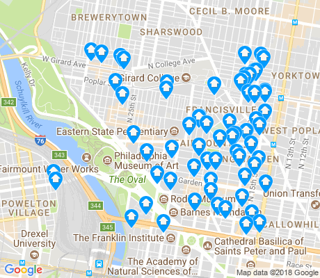map of Fairmount - Art Museum apartments for rent