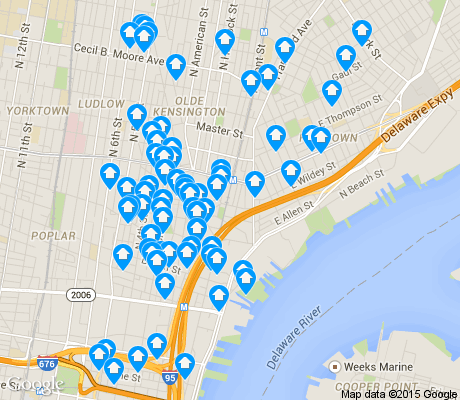 map of Fishtown apartments for rent